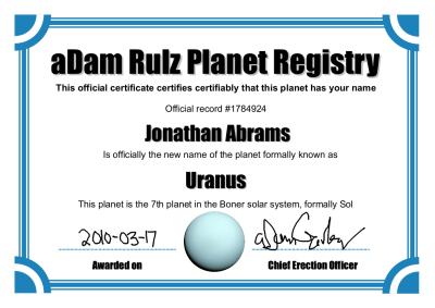 Uranus Certificate