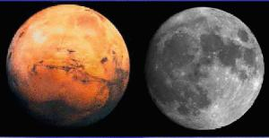 How Mars will look compared to the moon?